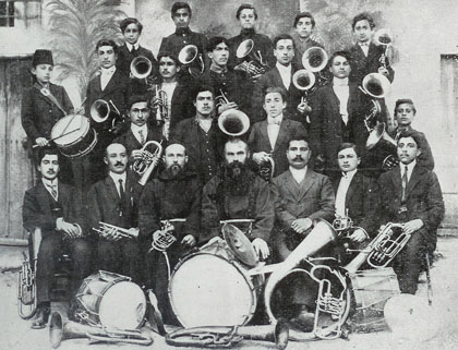 A group of Armenian trumpeters of the French College in Kharbert, 1900's