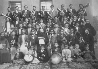 The musical band of the Armenian College in Mezreh, 1900s