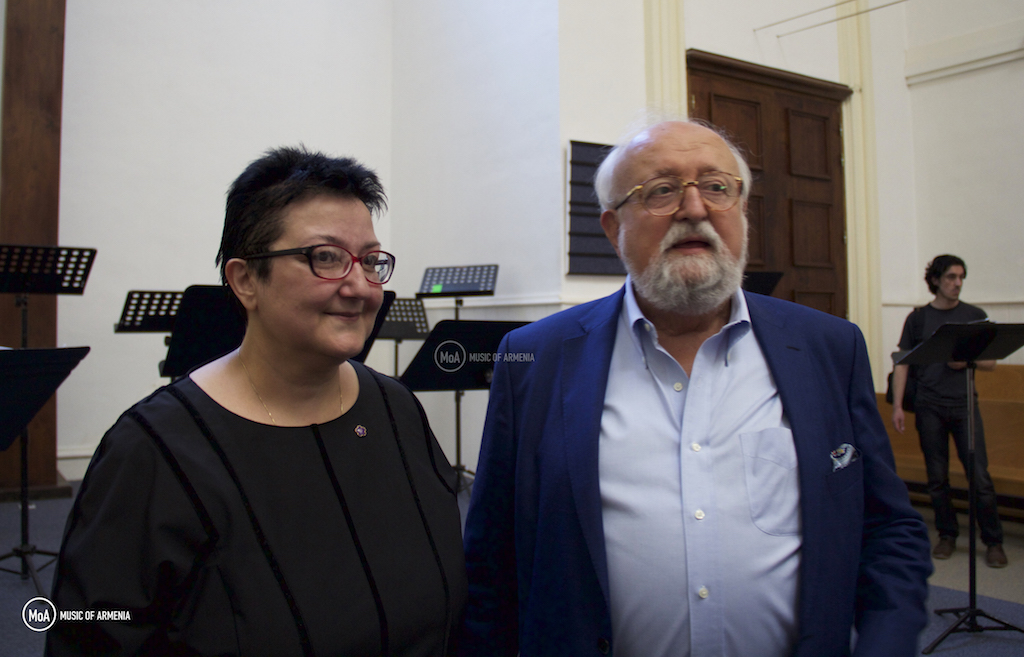 Sona Hovhannisyan and Krzysztof Penderecki | © Music of Armenia